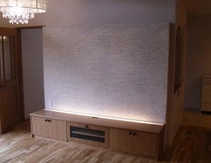 TV台 タモ突板 間接照明付