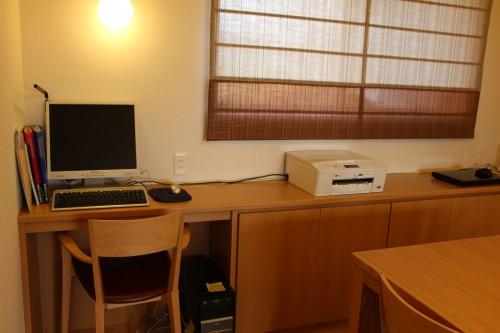 パソコンカウンター 収納付 タモ突板